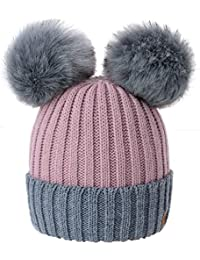 31fb1e8e953 4sold Miki Colour Womens Girls Winter Hat Wool Knitted Beanie with Double Pom  Pom Cap Ski