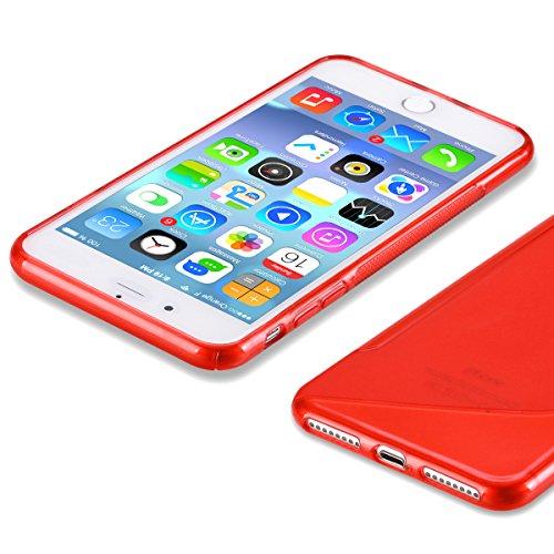 Kit Me Out FR® Coque en gel TPU pour Apple iPhone 7 Plus - blanc Vague en forme de S rouge
