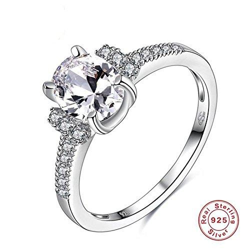 Anti-Allergie-Mode S925 Sterling Silber Solitär Ring Sterling Silber Schmuck Zubehör , Silber , 8