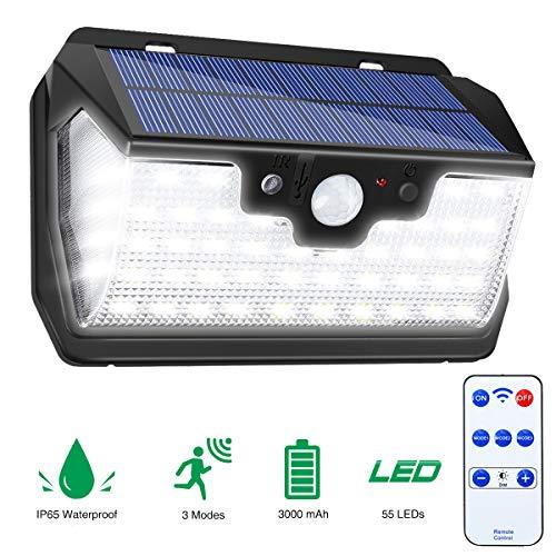 Luci Solari Esterne, SOLMORE Lampade Solari Led da Esterno 55 LEDs Luce Solare con Sensore di Movimento 800 LM, Luci Solari per Giardino, Pareti, Cortile,Lampada Solare Esterno