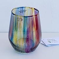 Portavelas de vidrio - Vidrio pintado a mano - Rayas de colores - Decoración del hogar
