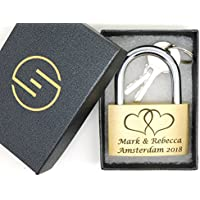 40mm Lock, Personalized Engraved Padlock, Large Linked Hearts image, Gift Box, Bold Text (LLHrt)