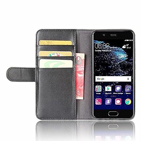 SMTR Samsung Galaxy J7 2017 Coque cuir véritable & PU Cuir Flip Housse Étui Cover Case Wallet Portefeuille Supporter avec Carte de Crédit Fentes pour Samsung Galaxy J7 2017 -Noir