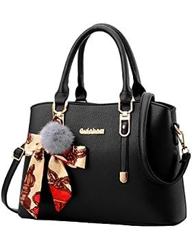 YAANCUN Damen Retro Henkeltasche Handtasche Schultertasche Shopper Mit Schultergurt (gold metallteile sind)