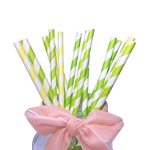 und Baby Gelb Streifen für Spring Papier Trinkhalme 19,7cm Länge für Party Trinkhalme (Glückliche Geburtstage)