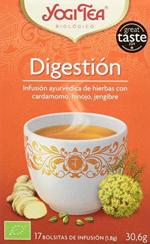 DESCRIPCIÓN: Pack de 6 Cajas de Yogi Tea Infusión Biológica en Bolsitas Digestión 17x1,8 g INGREDIENTES: Cardamomo*, hinojo*, cilantro*, malta*, regaliz*, menta*, jengibre*, canela*, pimienta negra*, clavo*. (* ingredientes procedentes de agricultura...