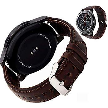 Miimall Cuir véritable Bracelet de Montre pour Samsung Gear S3 Frontier/Classique Smart Watch