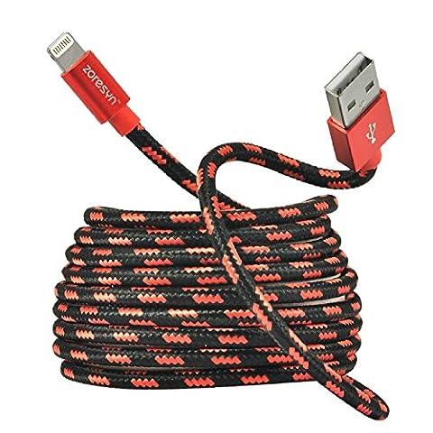 Zoresyn 2m/6.6ft Apple MFi zertfiziert Lightning USB langes Kabel Nylon