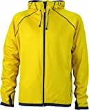 James & Nicholson Herren Jacke Fleecejacke Men's Hooded gelb (yellow/carbon) Medium
