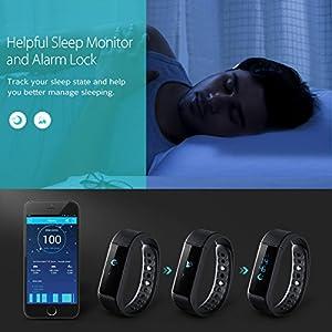 VicTsing BAND 2, Pulsera Deportiva Inteligente, Podómetro, Monitor de Calorías, Monitor de Dormir, Resistente al agua IP67, Bluetooth compatible con IOS y Android [La Última Versión]
