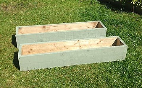 2x 60cm Long (61cm) Pots de fleurs de jardin en bois peint en osier Vert: Entièrement assemblé–Il suffit d'ajouter les plantes: Fast & Livraison gratuite