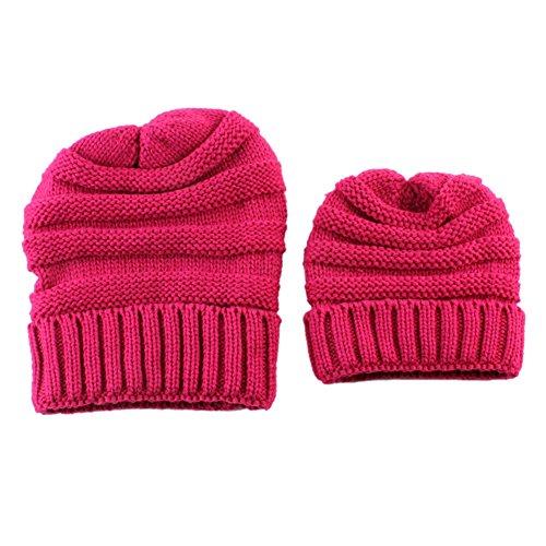 TININNA 2 in 1 Maman et Bébé à Tricoter Gardez Chapeau Chaud du Mignon d'hiver 1-6 Ans Bebe Bonnet Casquette + Mere Bonnet Rose Rouge