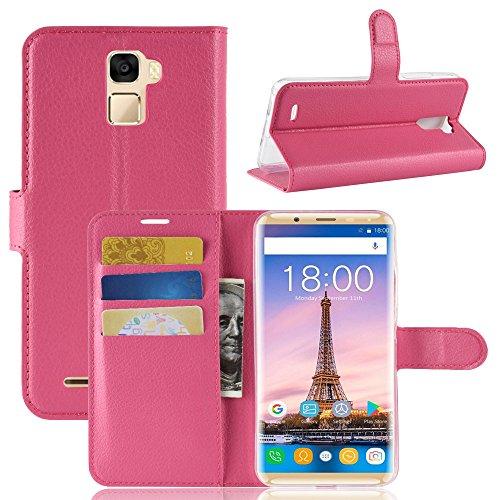 TenYll Oukitel K5000 Wallet Tasche Hülle, PU Schutzhülle [Premium Leder] [Ultra Slim] [Card Slot] [Ständer] Flip Wallet Case Etui für Oukitel K5000 -Rose rot