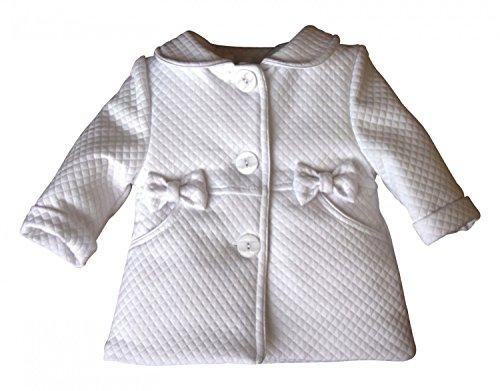 BIMARO Baby Mädchen Mantel Lea weiß Taufmantel Babymantel Jacke Baby Hochzeit Taufe festlich gefüttert , Größe:68 (Weiße Jacke Mantel)
