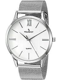 Peugeot - Reloj de pulsera para hombre, acero inoxidable, correa de malla fina, esfera de color plateado, con caja