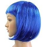 Perruque Cheveux Bobo Courts Bleu Brillant Pour Femme Fêtes Soirée Bal Cosplay