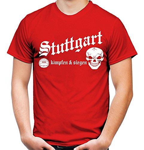 Stuttgart kämpfen & siegen Männer und Herren T-Shirt   Fussball Ultras Geschenk   M1 Rot