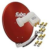 Fuba DAA 850 R 85x85cm Sat Schüssel Alu Rot + PremiumX LNB Quad 0,1 dB PXQS-SE Weiß Quattro Switch zum Direktanschluss von 4 Teilnehmer Digital HDTV Full HD 3D + 8X F- Stecker