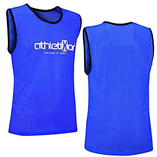 10 Fußballleibchen - Trainingsleibchen - Leibchen - Markierungshemden von athletikor (Blau, ab B Jugend - Erwachsene XL: 73X60CM) (Erwachsene Leibchen Für)