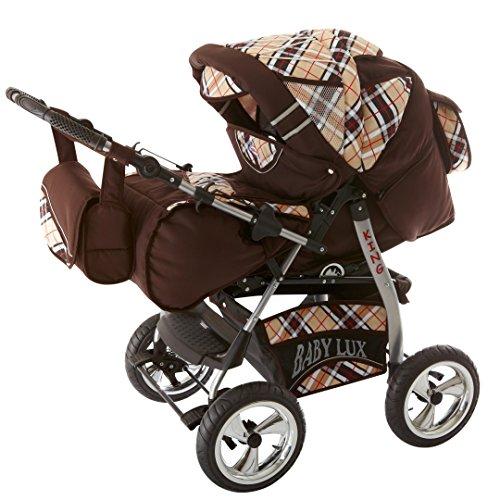 Kinderwagen King + Autositz Schoko & Karo 3in1 Set +Isofix 3in1+Winterfußsack Wolle