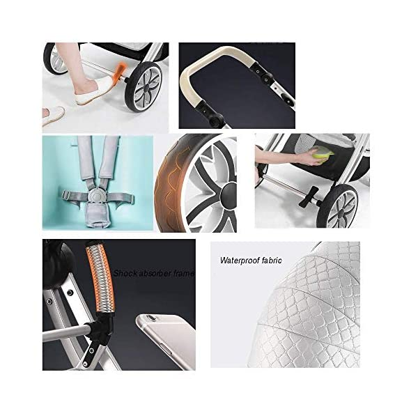 Two Way Fashion Strollers 2 in 1 Baby Pushchairs Newborn Prams Toddlers Bassinet Fold Reclining (Color : White) WSZLSD ◆Stylish dynamic egg-shaped baby stroller, PU leather eggshell seat, effectively protect baby's spine development, add hidden sleeping basket, adjustable handlebar and awning, large storage basket, Rotate the front wheel with a suspension spring, Fully adjustable 5-point harness. ◆Aluminum alloy frame has a good luster, It is lighter than iron (or steel, copper) and never rusts, so it can be used for a longer period of time ◆No need for inflatable rubber explosion-proof wheels, and can easily roll on all rough terrain, such as grass, gravel road, sidewalk, sand and so on,The front wheel has a shock absorber function to protect the baby's body, and the rear wheel has double brakes to ensure safe travel. 8