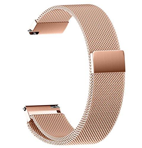 Culater® Universel Milanese Magnetic Loop Bracelet de Montre en Acier Inoxydable 22/20/18/16/14MM (16MM, Or Rose) Culater