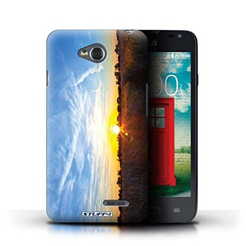 Kobalt® Imprimé Etui / Coque pour LG L65/D280 / Bleu de la mer conception / Série Coucher du Soleil Bleu ciel