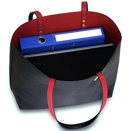 Damen Tote Handtaschen Damen Oben Griff Handtasche Reversibel Tragetasche Mit Oben Griff Und Öffnen Schließung A - Schwarz/Burgund