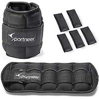 Sportneer Adjustable Ankle Weights, 0.45Kg - 3.15Kg In One Pair (Standard) / 1Kg-4.5Kg (Extra), Ankle Wrist Legs Weight Straps, 2 Pack, Black
