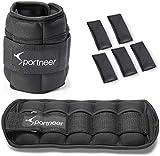 Sportneer Set di Pesi Regolabile per Caviglia, Strap con Peso per Polsi, da 0,45 a 3,15 kg, Pacco da Due, Colore Nero