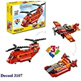 FunBlast Decool 3107 Architect Series 3 in 1 – Fighter Helicopter, Fighter Jet, Fighter Boat Building Block Brick Educational DIY Toys for Kids – 145 Brick Pieces