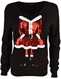 Heart & Soul Women's 'Miss Claus' Funny Sequin Motif Knitted Christmas Jumper Top