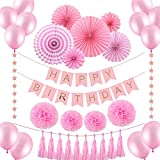 VEYLIN Birthday Party Decoration Set for Girls, 35 Pieces Pink Baby Shower Supplies for Girls,Includes Paper Fans,Balloons,Happy Birthday Banner,Paper Tassels,Tissue Paper Pompoms and Star Garland