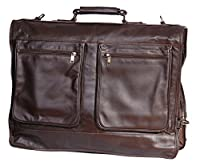 Luxury Real Leather Suit Carrier Business Travel Weekend Garment Dress Suiter Bag HLG829 Brown