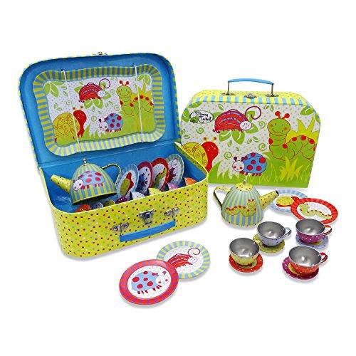 Kleiner Käfer Teeservice im Koffer - 14 Stück Tee Set Puppengeschirr aus Metall - Kinder