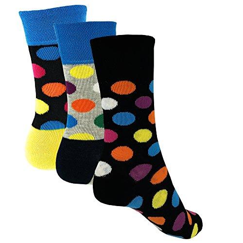 3 pares de calcetines de mujer - calcetines de niña con lunares coloridos (35-38)