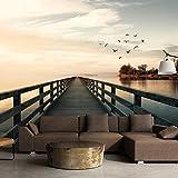 murando - Fototapete Ausblick auf See 350x256 cm - Vlies Tapete - Moderne Wanddeko - Design Tapete - Wandtapete - Wand Dekoration - Natur Landschaft Pier Strand See Meer c-C-0034-a-c