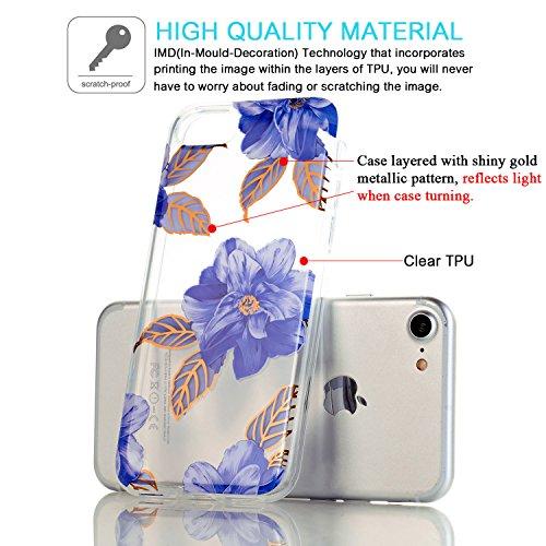 JIAXIUFEN TPU Gel Silicone Protettivo Skin Custodia Protettiva Shell Case Cover Per Apple iPhone 7 (2016) / iPhone 8 (2017) - Fiore Floreale Design Rose Flower Multilayer Blue Flower