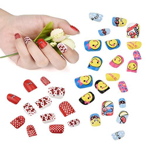 Ya-uzeun - unghie finte a pressione per bambini, 24 pezzi, motivo: cartoni animati