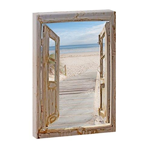 Fensterblick - Weg zum Strand 3 | Panoramabild im XXL Format | Trendiger Kunstdruck auf Leinwand | Hochformat oder Querformat (120 cm x 80 cm | Hochformat)