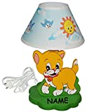 Tischlampe aus Holz - Katze - incl. Name - 37