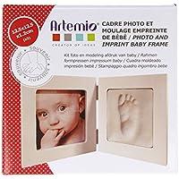 Artemio Kit Moldeo de Huella de bebé y Marco de Fotos, Madera, Blanco, 13,5x 4,5x 16cm