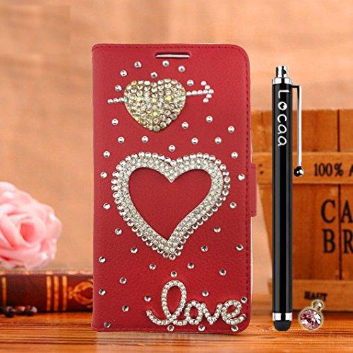 Locaa(TM) Pour Apple IPhone 7 IPhone7 (4.7 inch) 3D Bling Case Coque Cadeaux Fait Cuir Qualité Housse Chocs Étui Couverture Protection Cover Shell Romantique [Couleur 1] Bleu - Love Rouge - Flèche l'Amour