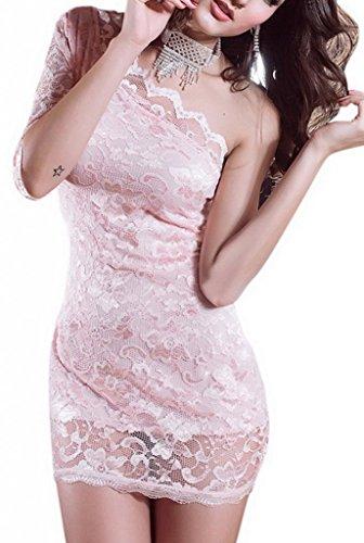 Bigood Robe Femme Dentelle Mini-robe Moulante Courte Mariage Cérémonie Rose