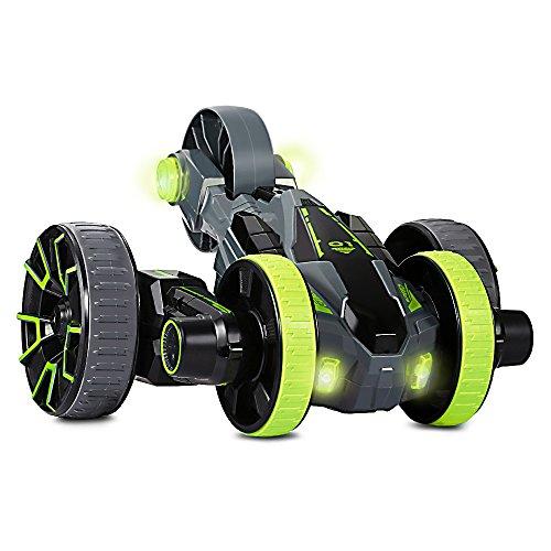 Joyhero 2.4Ghz RC Car Télécommandé 5 Roues Voiture Tout Terrain à Haute Vitesse 360 Degrés Rotation avec LED Light Battérie Rechargeable pour l'Enfant, Adulte