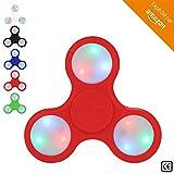 BeZen Fidget Spinners - Spinner Anti Stress Lumineux avec LED pour Adultes et Enfants (Bonus: eBook gratuit) (Rouge)
