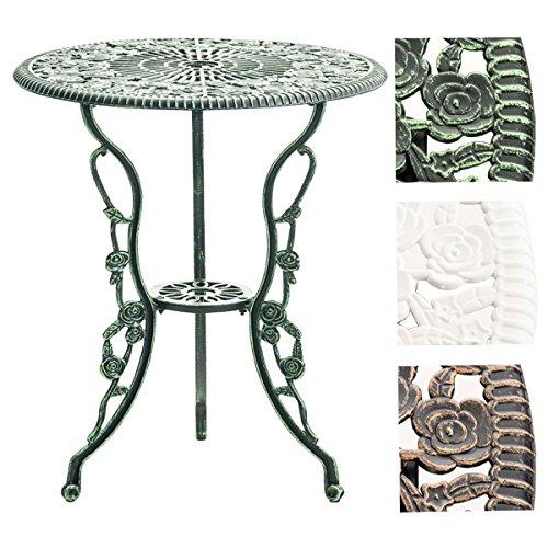 CLP Tisch SHARMA, Gartentisch rund Durchmesser Ø 60 cm, Höhe 68 cm, Metall, Eisentisch, nostalgisches Design, handgefertigt, Antik Grün
