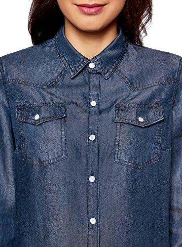 oodji Ultra Damen Hemd mit Druckknöpfen und Brusttaschen Blau (7900W)