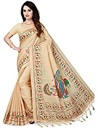 Ishin Art Silk Beige Printed Women's Saree/Sari With Tassels