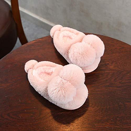 PZXY Winter Hausschuhe Süße Flauschige Ball Anti-Rutsch Home Indoor Kinder Baumwolle Hausschuhe